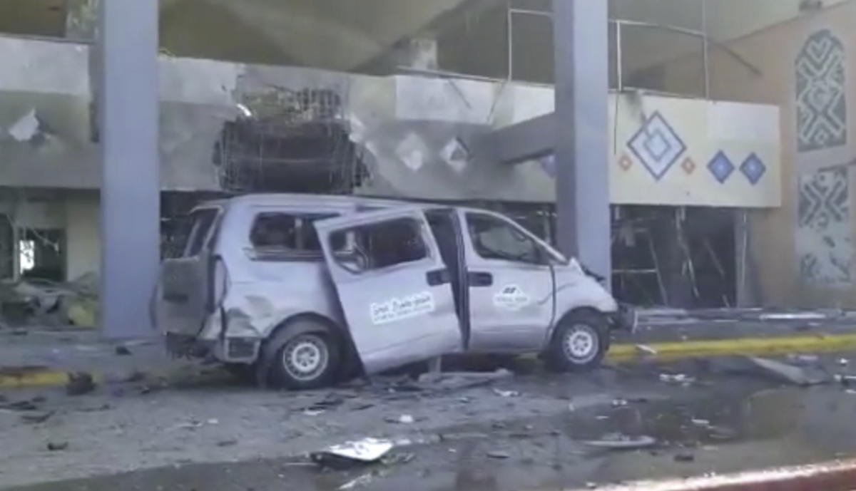 Aden airport's terminal building was hit