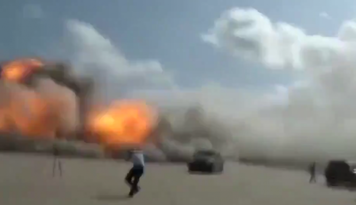 One of the Aden airport explosions captured on video