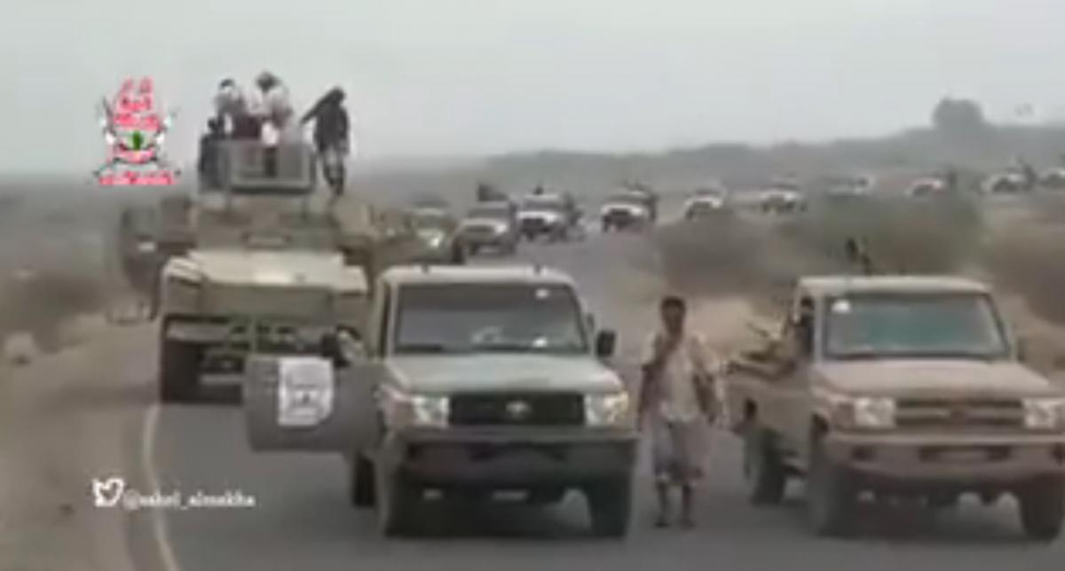"Scene from a video posted on social media, said to show reinforcements of the Amaliqa ""Giants"" Brigade arriving outside Hodeidah"