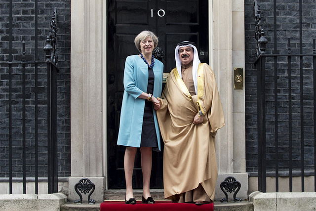 Theresa May and the king of Bahrain in Downing Street last October. Photo: Tom Evans (CC BY-NC-ND 2.0)