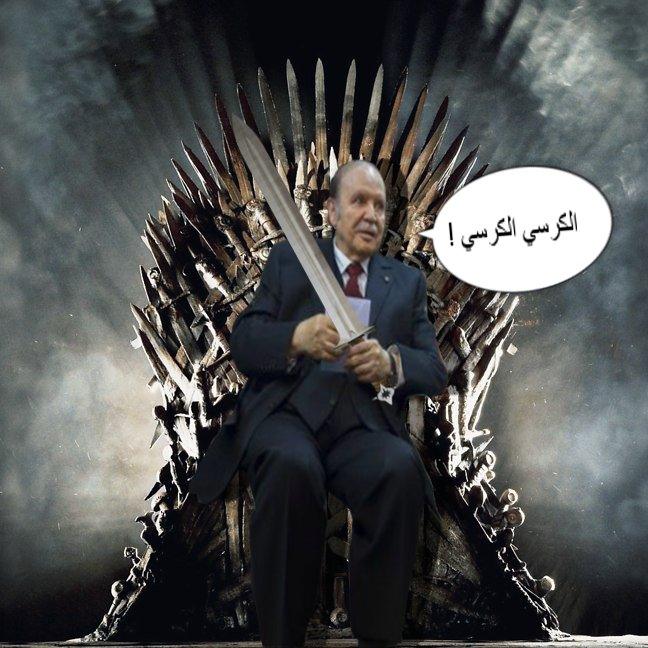"""The chair, the chair!"" Image posted on Twitter with a double entendre, alluding to the Game of Thrones but also to Bouteflika's wheelchair"