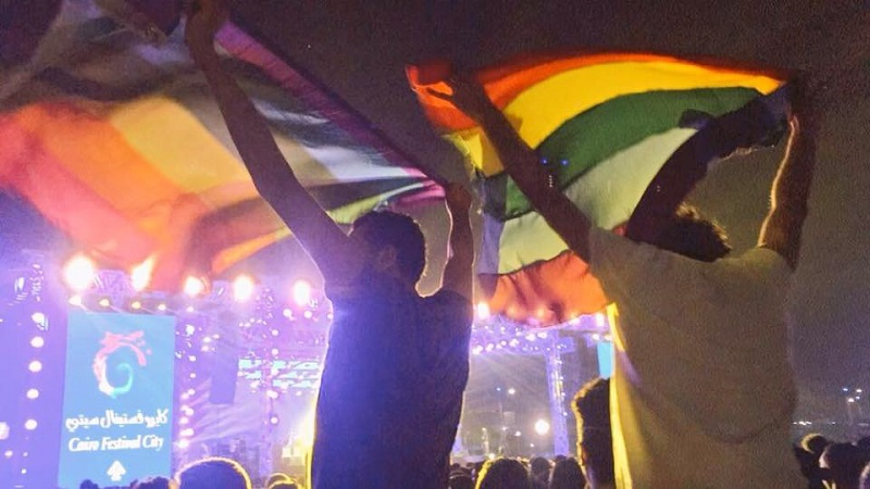 Fans waved rainbow flags at the Cairo concert in 2017