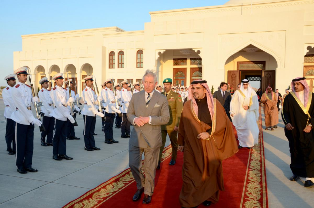 Red carpet for repression: Prince Charles during a previous visit to Bahrain in 2014. Photo: BNA