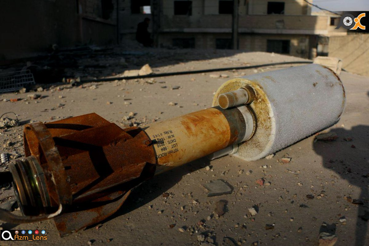 A rocket of the type allegedly used in chlorine attacks