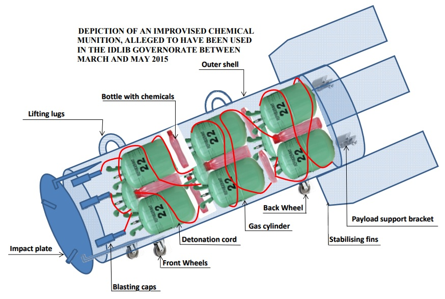 "Diagram of a Syrian chlorine bomb. <a href=""http://al-bab.com/sites/default/files/chlorine-bomb.jpg"">Click to enlarge</a>. Source: <a href=""https://www.opcw.org/fileadmin/OPCW/Fact_Finding_Mission/s-1319-2015_e_.pdf"">OPCW</a>."