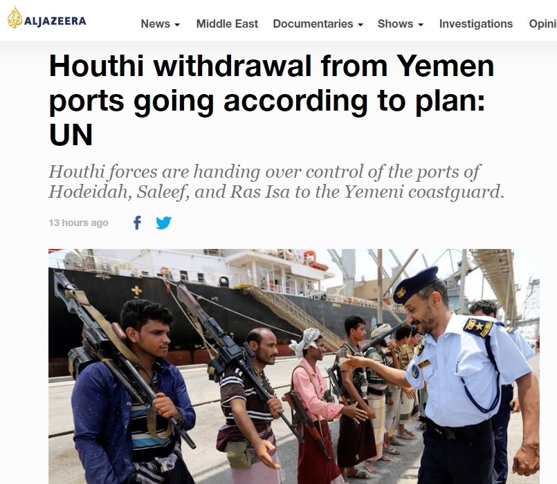 Houthi fighters in Salif port are reported to have handed over to coast guards