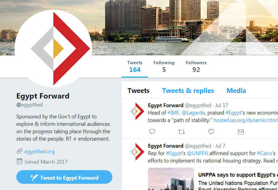 The Twitter feed of Egypt Forward attracted only 92 followers