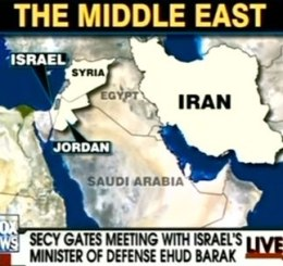 According to Fox News, Egypt lies between Syria and Iran