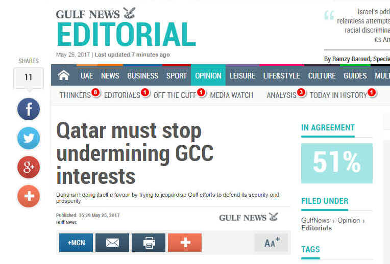 Yesterday's editorial in Gulf News