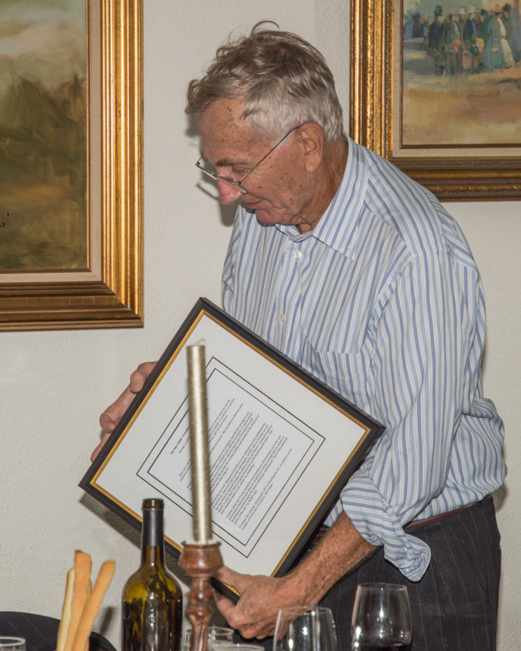 "Hersh accepted his award at a ""festive dinner"" on Friday"