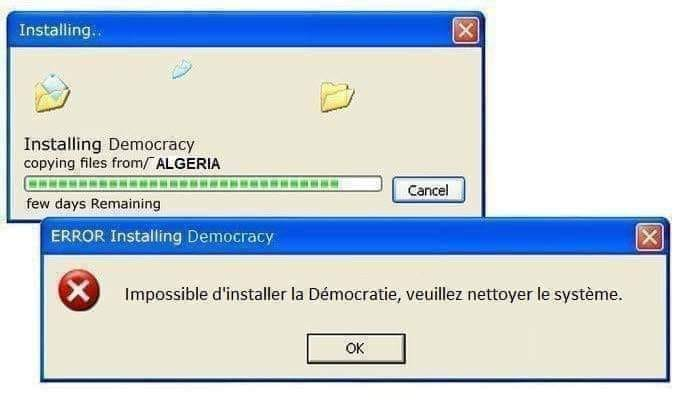 "Computer joke. The ""democracy"" app has failed to install. ""Please clean the system"""