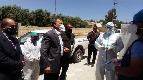 Jordanian health minister Saad Jaber pictured on Friday visiting Mafraq where there has been a surge in new Covid-19 cases