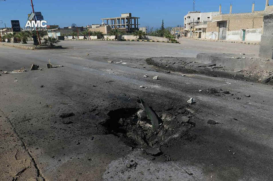 The crater where a chemical weapon is said to have struck in Khan Sheikhoun