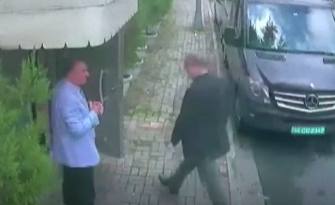 Prominent Saudi journalist Jamal Khashoggi (seen here on CCTV) vanished after entering the Saudi consulate in Istanbul