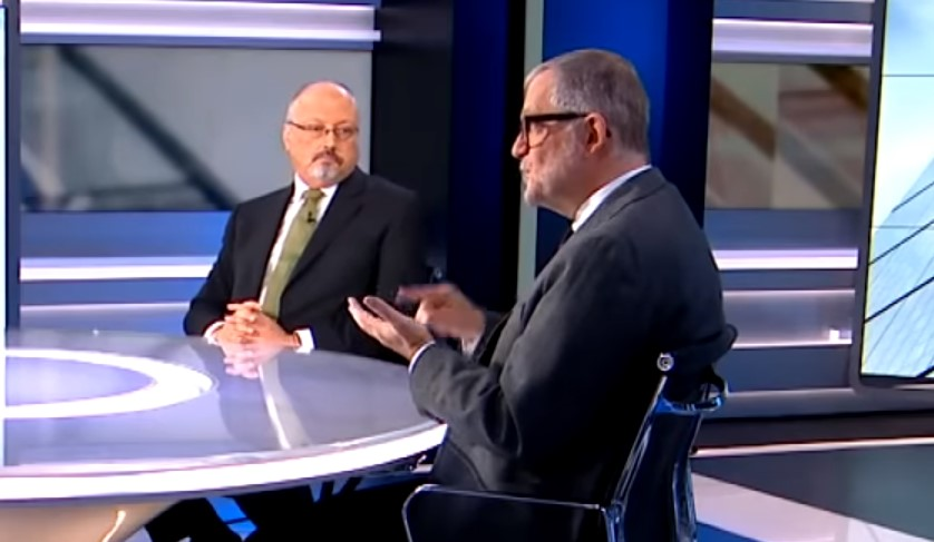 "Murdered journalist Jamal Khashoggi (left) and Ali Shihabi of the now-defunct Arabia Foundation debating Saudi ""reforms"" on al-Jazeera television last year. <a href=""https://youtu.be/CsXu_rjr7MQ?t=1"">Video here</a>."