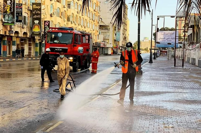 Disinfecting the streets in Libya