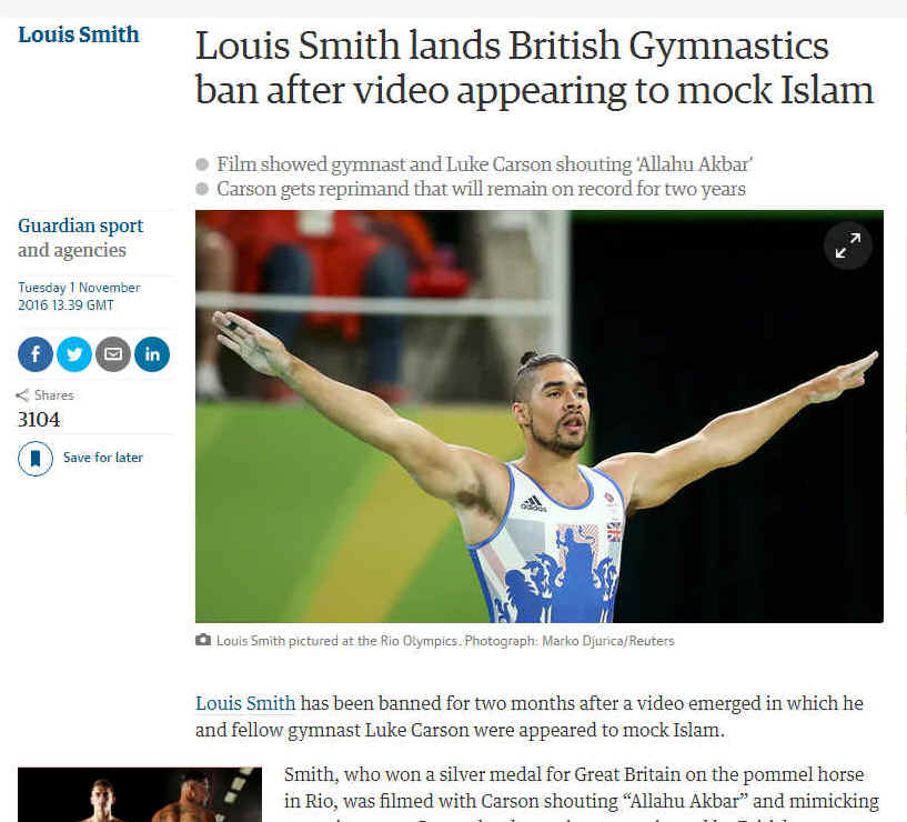 Another blasphemous gesture? Louis Smith at the Rio Olympics