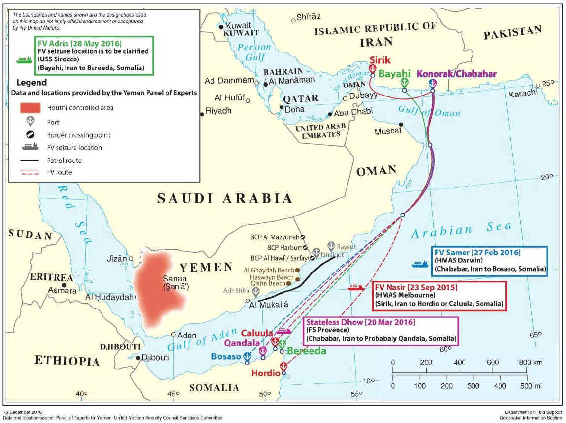 "Weapons seizures in the Gulf of Aden and Arabian Sea during 2015 and 2016. Map from UN report. <a href=""http://al-bab.com/sites/default/files/map-yemen-sea-routes.jpg"">Click to enlarge</a.."