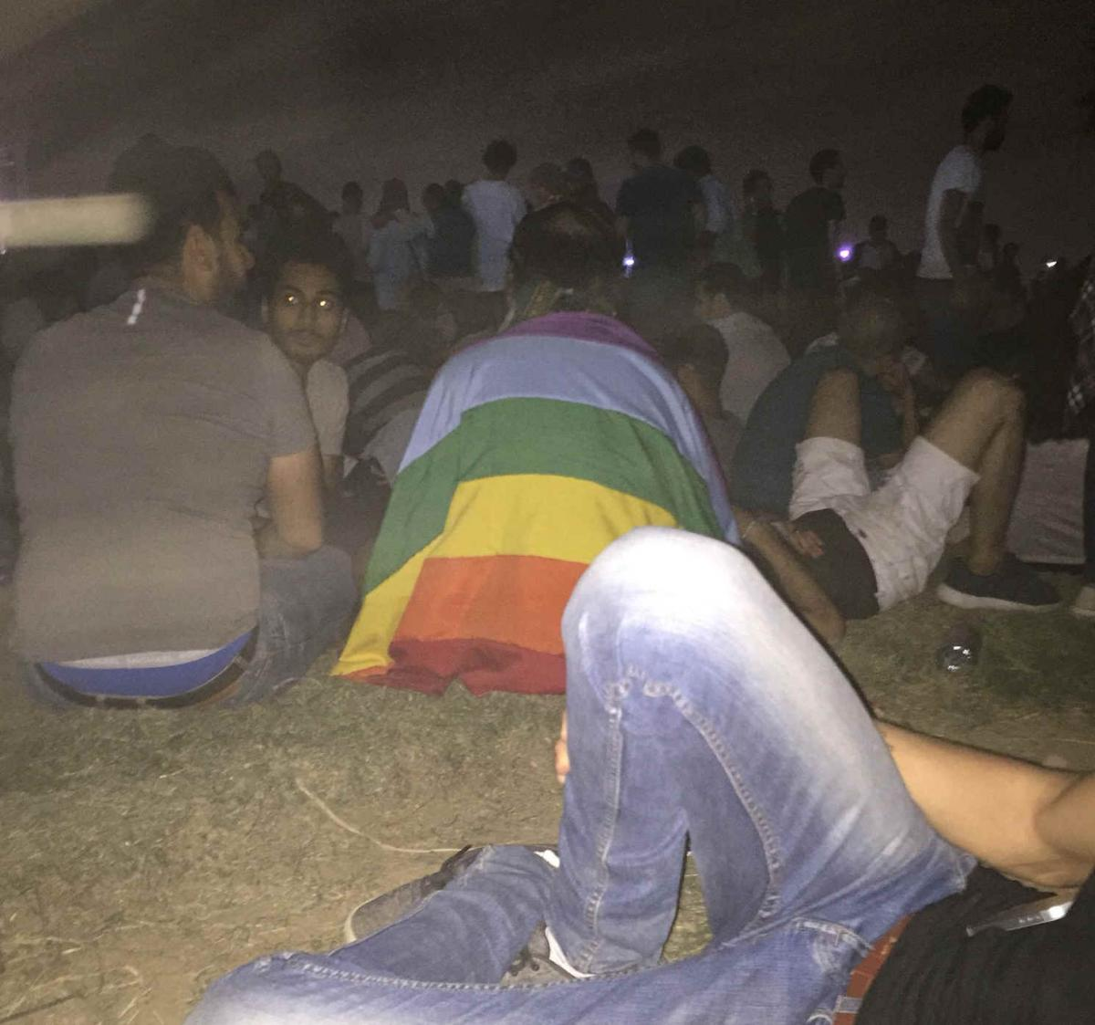 Draped in a rainbow flag: one of the Egyptian fans