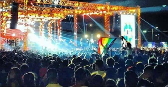 A fan waving a rainbow flag at last month's concert in Cairo