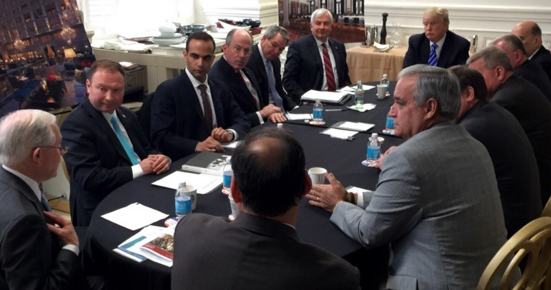 "Foreign policy adviser Papadopoulos (third from left) in ""national security"" meeting with Trump, March 2016"