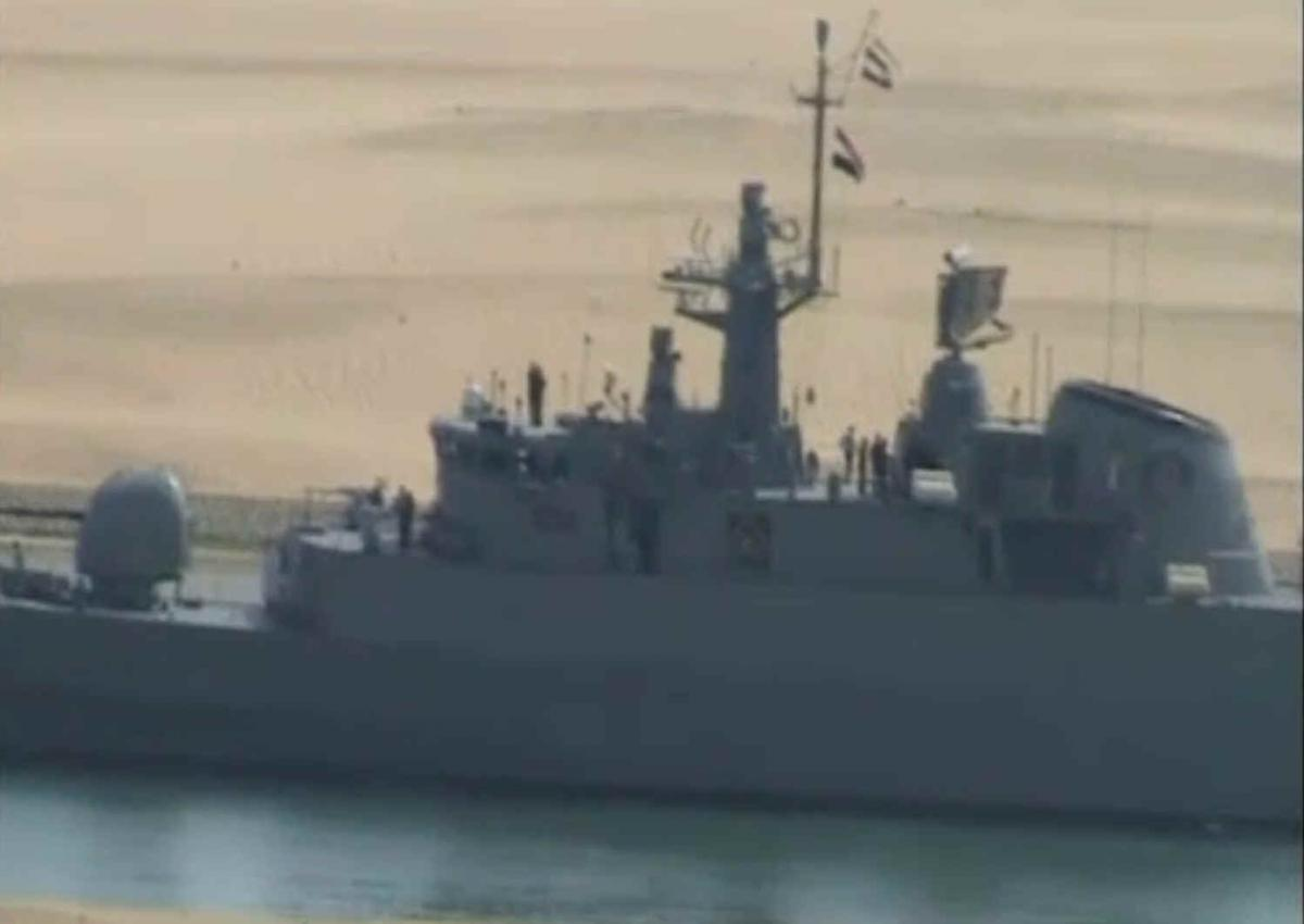 Threat to the US? Iranian frigate Alvand, built by Britain for the Shah 48 years ago, seen passing through the Suez Canal in 2011