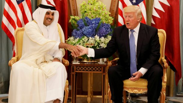 "Qatar's emir is now an outcast in the Gulf, yet little more than two weeks ago Donald Trump declared him a friend and was hoping to sell him ""lots of beautiful military equipment""."