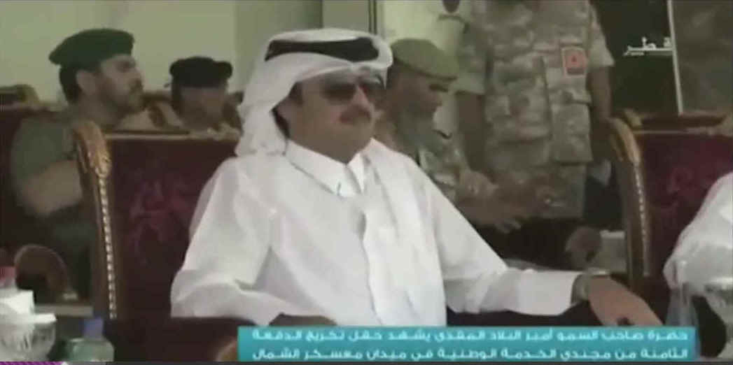 The emir at the military ceremony. Screen grab from Qatari TV.