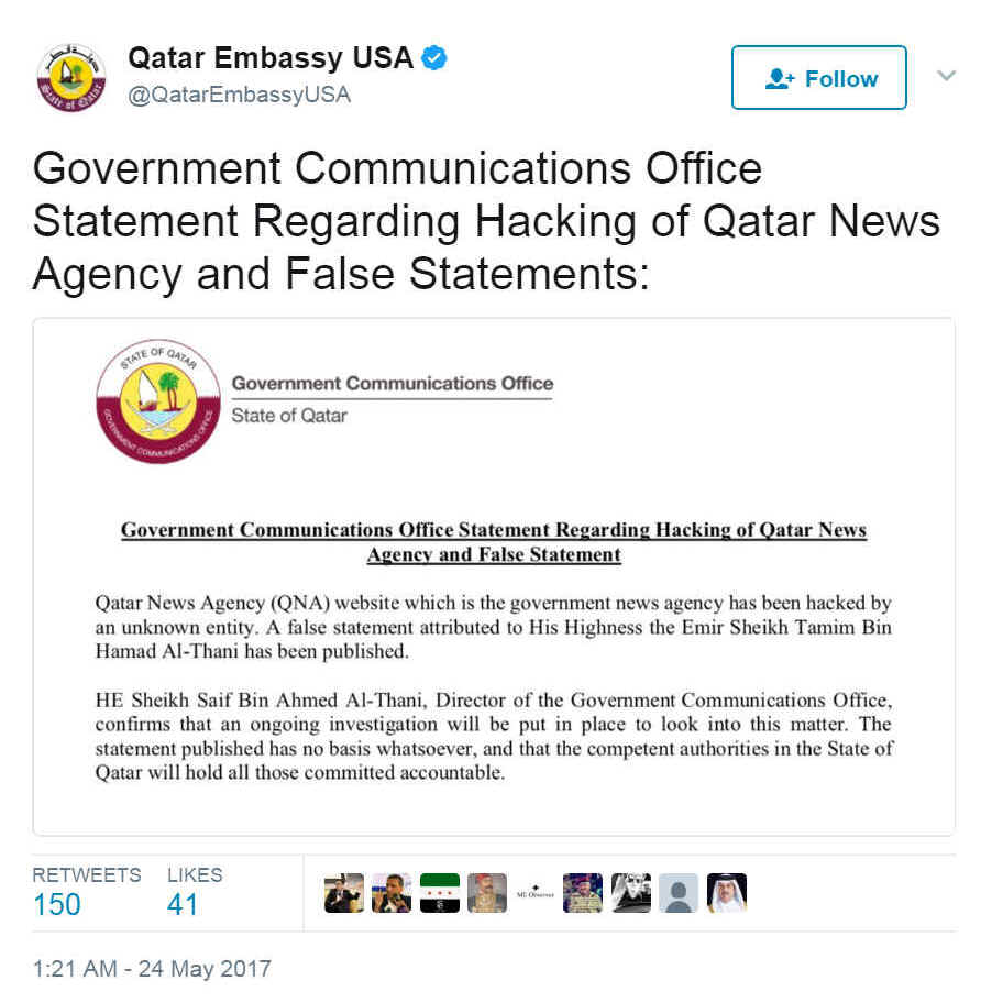 "Statement <a href=""https://twitter.com/QatarEmbassyUSA/status/867173795500576768"">posted on Twitter</a> by the Qatari embassy in Washington"