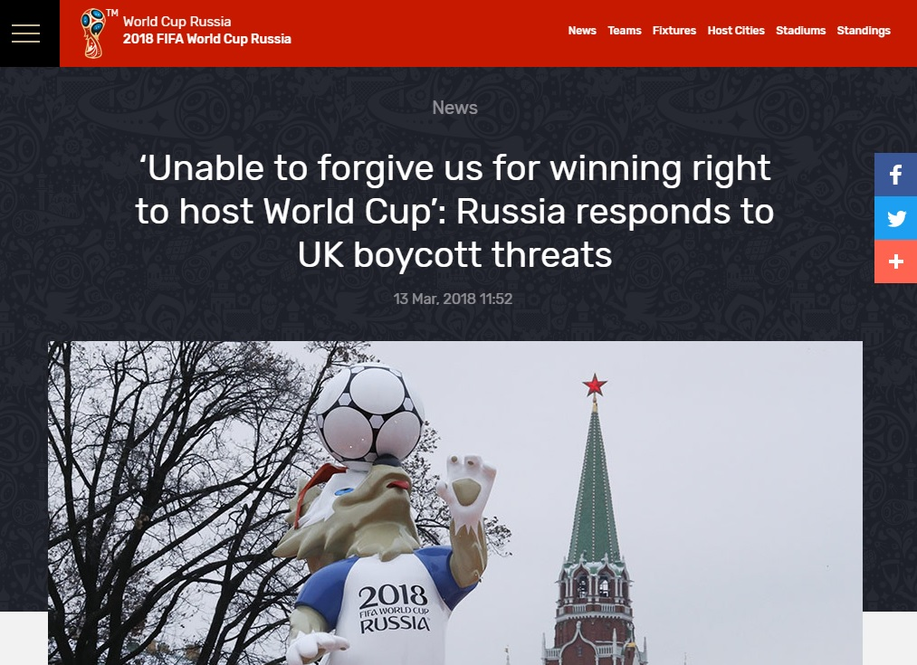 Russia's RT links the Skripal poisoning to British jealousy over hosting of the World Cup