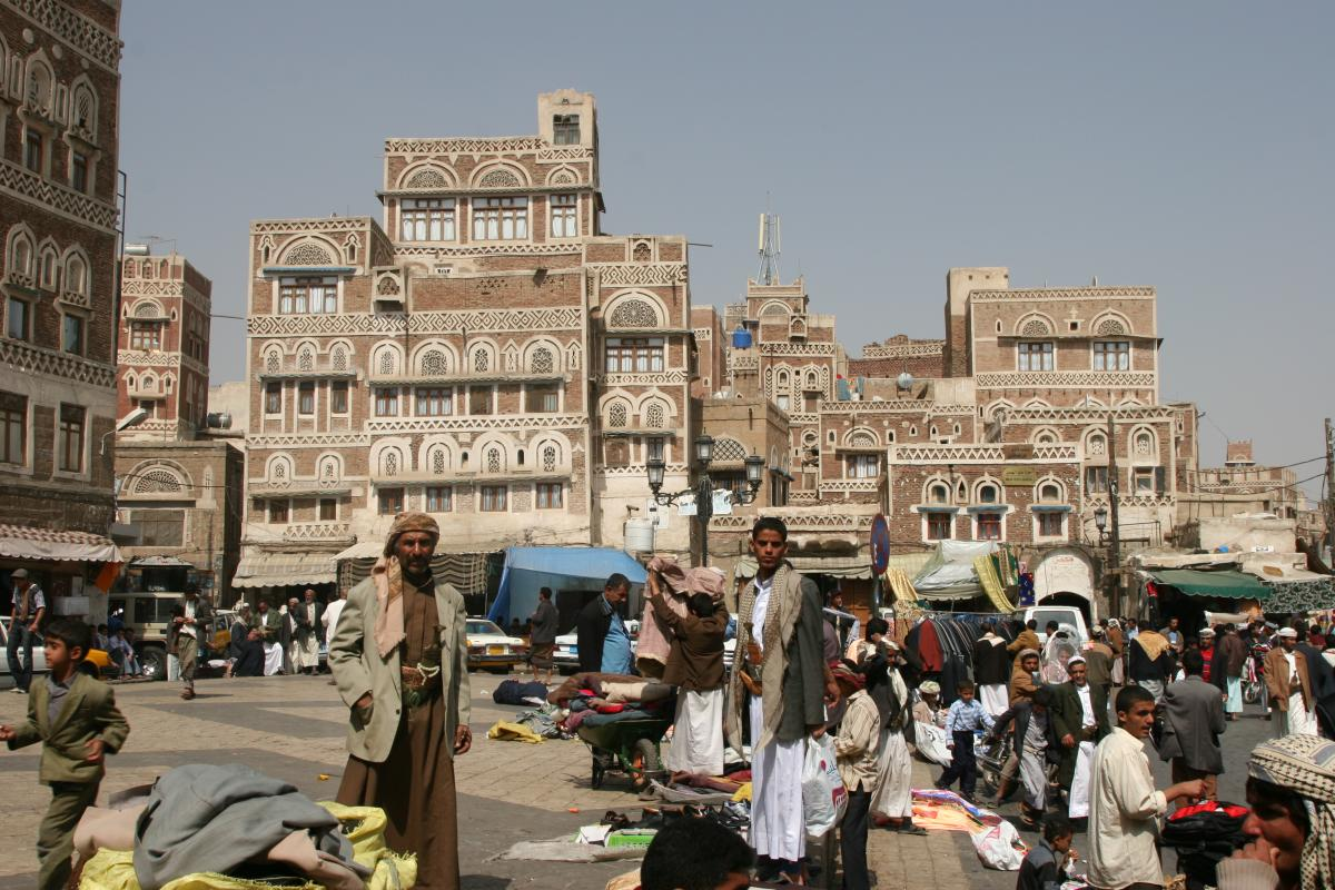 A market in the Old City of Sana'a before the virus arrived. It's now under curfew