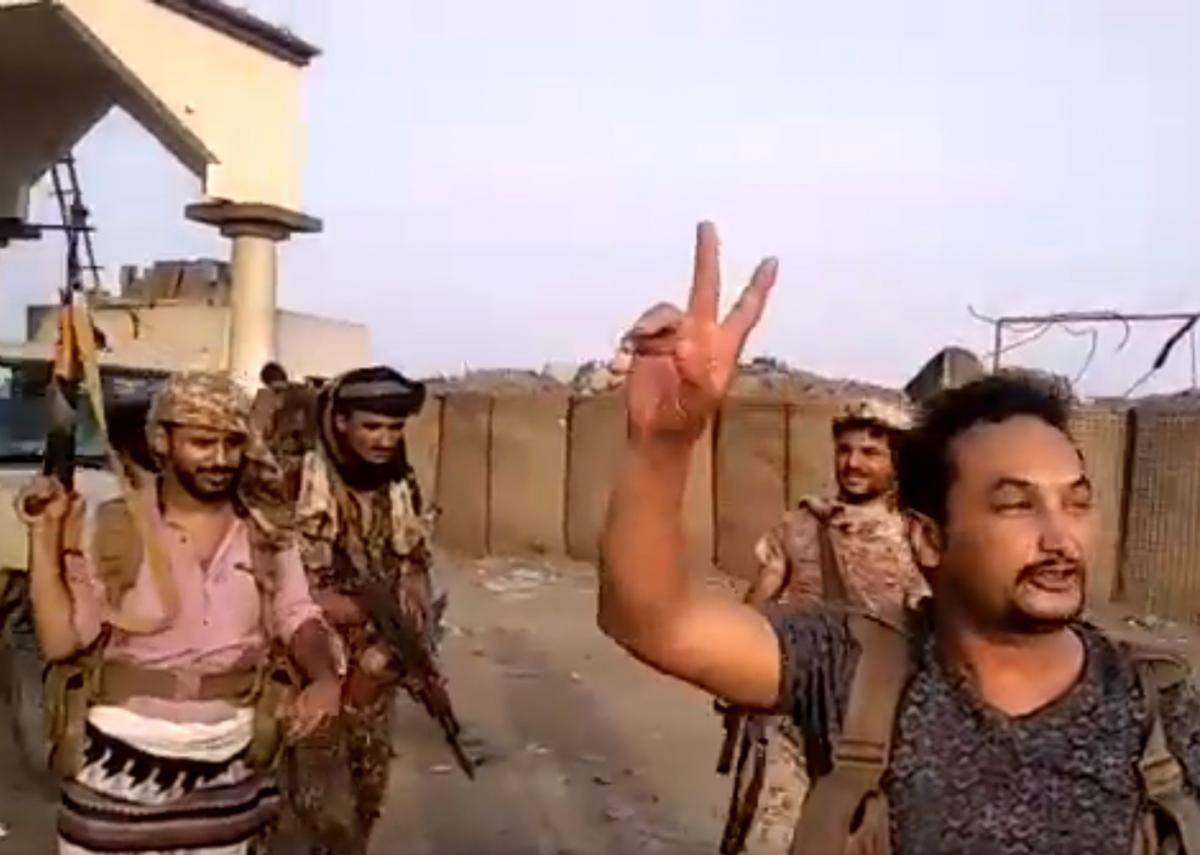 "Separatist forces purportedly celebrating the recapture of al-Alam checkpoint on the eastern edges of Aden. Source: <a href=""https://twitter.com/murad_m_saeed/status/1166932272781676544"">Twitter</a>"