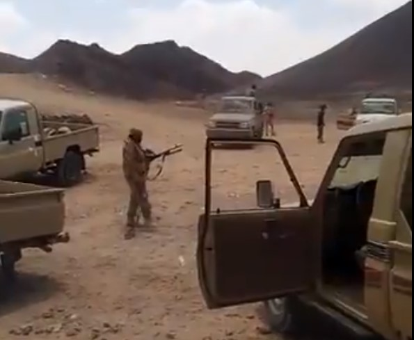 "Pro-government forces purportedly taking control in Shabwa province. <a href=""https://twitter.com/Almatrafi/status/1165286643890294784"">Source: Twitter</a>"