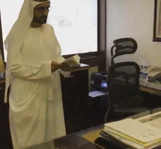 Sheikh Mohammed, ruler of Dubai, inspects an empty office