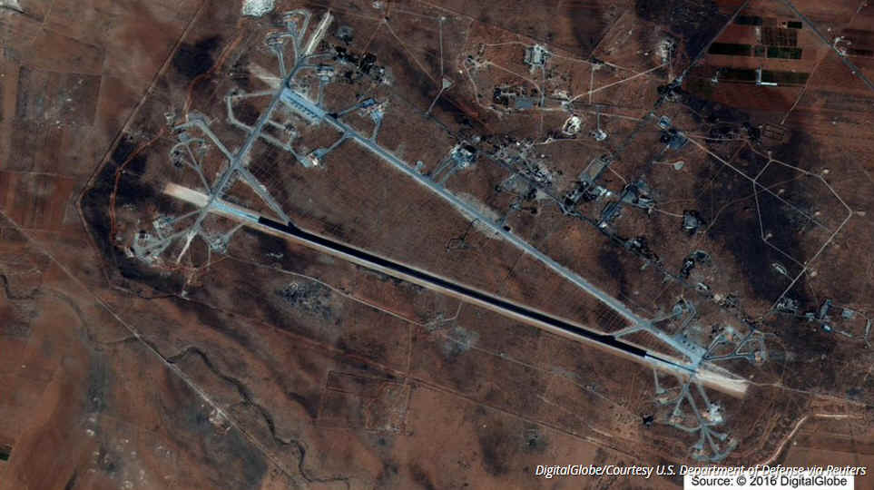 Satellite image of Shayrat airbase in Syria, bombed by the United States