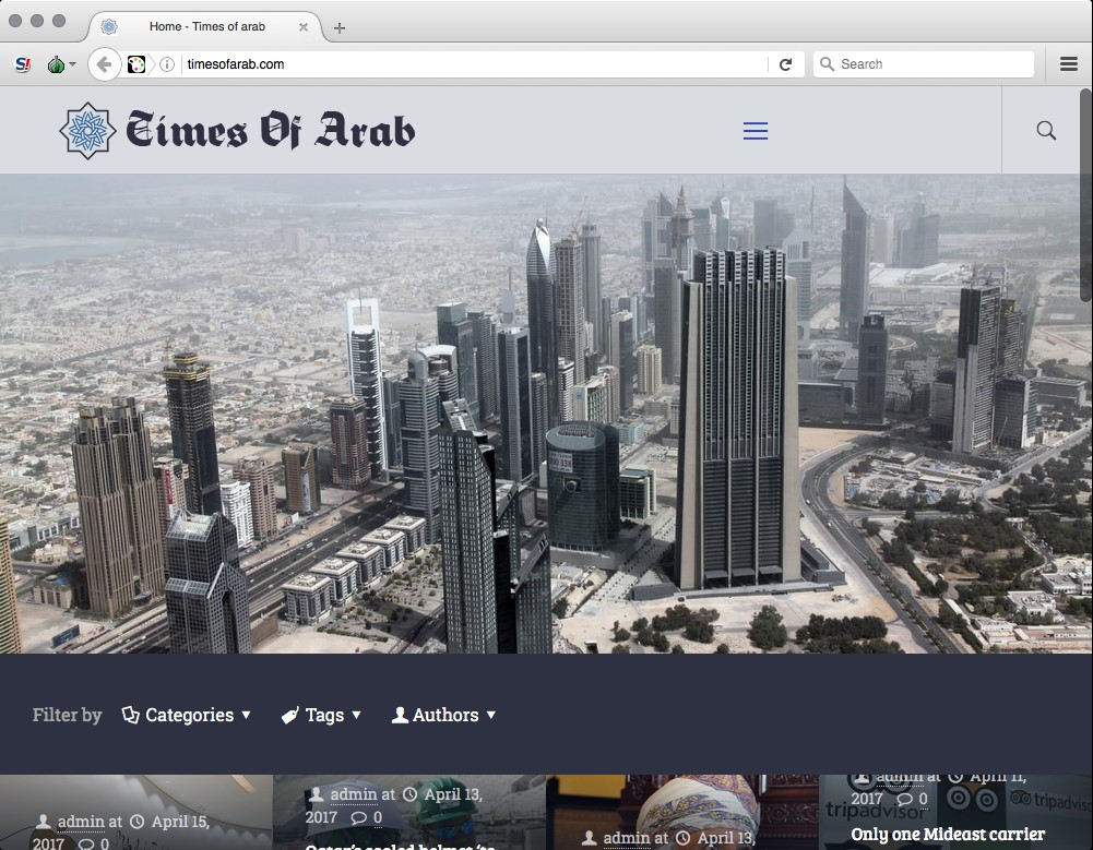 "The ""Times of Arab"" home page"