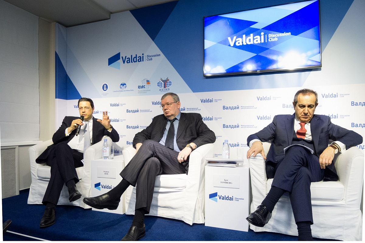 Panel discussion at Valdai, April 2016. Left to right: Stepan Roh, Igor Tomberg and Joseph Mifsud