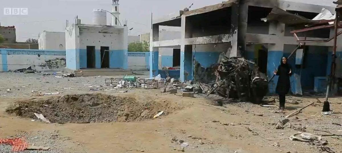 Unsafe zone: a bombed hospital in Yemen (screen grab from BBC report)