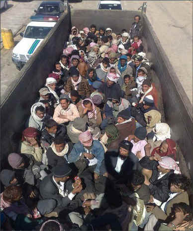 "Yemeni migrants <a href=""http://www.yementimes.com/en/1662/news/2150/Change-in-labor-law-in-Saudi-could-leave-300000-Yemeni-migrants-out-of-work.htm"">rounded up for deportation</a> from Saudi Arabia in 2013"