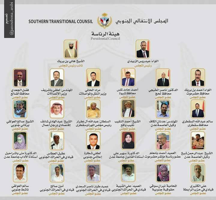 "Announcement of a ""Southern Transitional Council"""